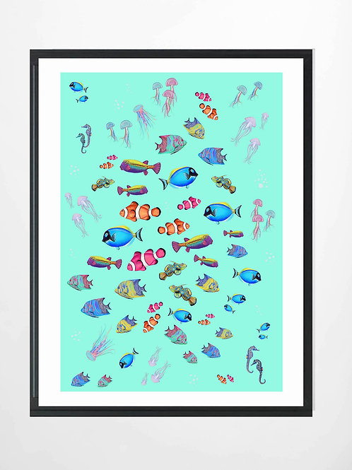 Tropical fish scene in mint green
