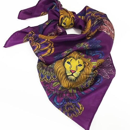 Deep magenta lion silk scarf