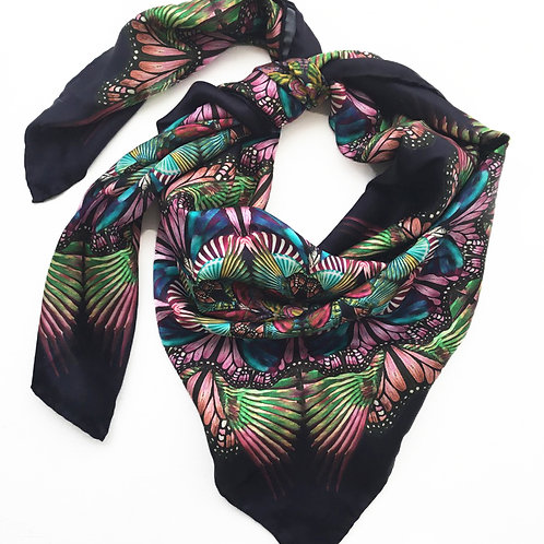 Dark purple mandala silk scarf