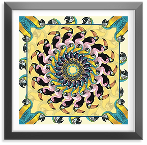 Yellow mandala jungle design art print illustrator london