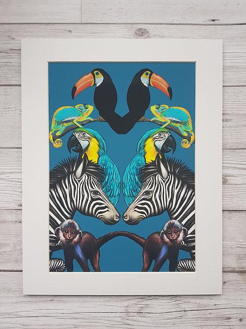 Symmetrical Jungle in deep blue