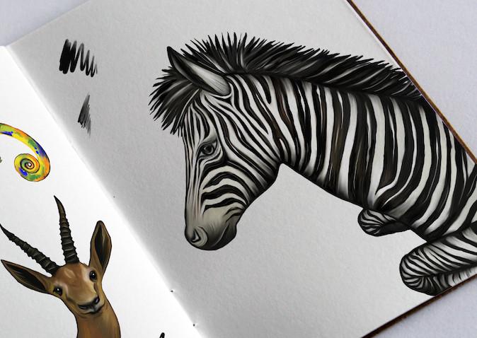 Sketchbook with zebra and gazelle