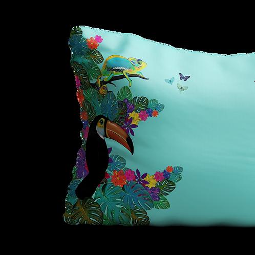 Jungle animals scene in green - velvet cushion