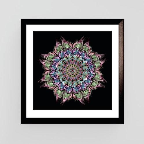 Large black wings Mandala Art Print
