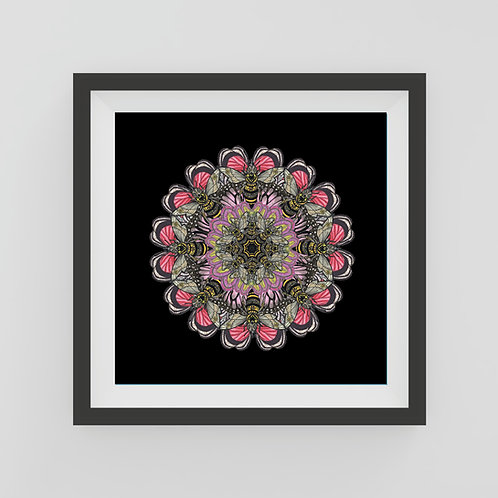 Small black bee mandala Art Print