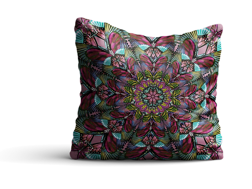 Butterfly mandala in dark green and blush reds