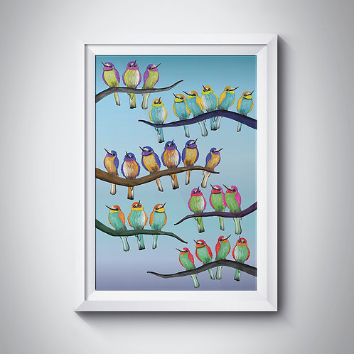 Illustrated birds on branches