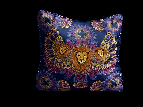 Navy lion square cushion - 45cm