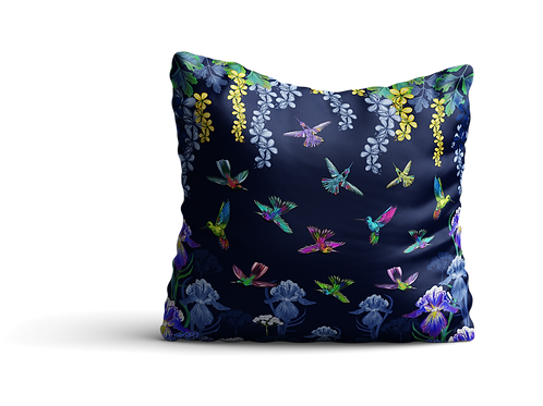 Hummingbirds and flowers in purple - square cushion