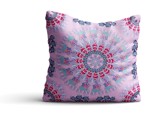 Under the sea pink fish mandala velvet cushion