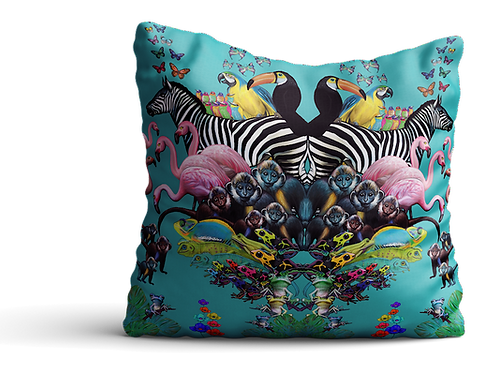 Green Jungle animals collage Velvet cushion - 45cm