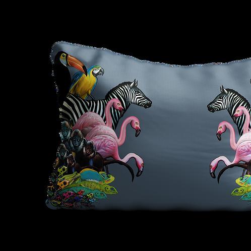 Grey jungle rectangular cushion