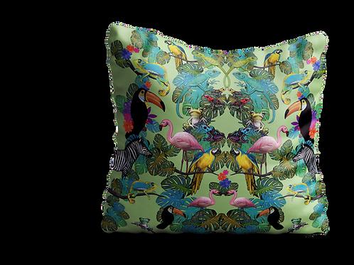 Jungle animals scene in green - velvet cushion 45cm