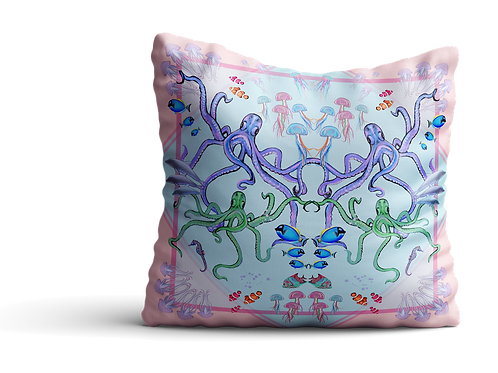 Under the sea pink octopus velvet cushion