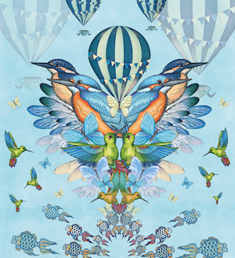 Kingfishers with hot air balloons
