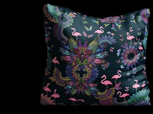 Purple square flamingo cushion