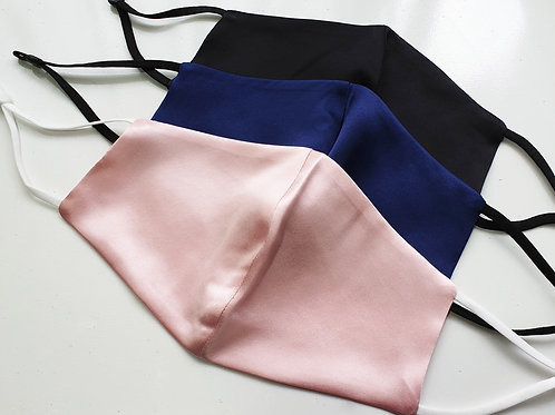 Plain 100% Luxury Silk reversible Face mask - pink/blue/black