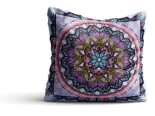 Blue and pink bee flamingo mandala cushion