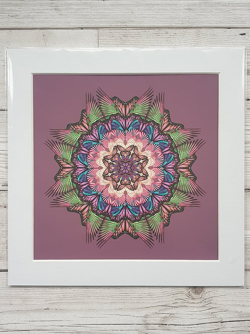 Purple mandala with green and pink butterflies