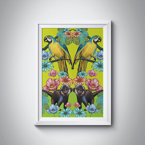 Symmetrical Jungle with parrots and monkeys