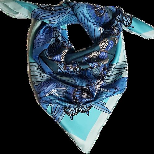 Blue butterfly garden silk scarf