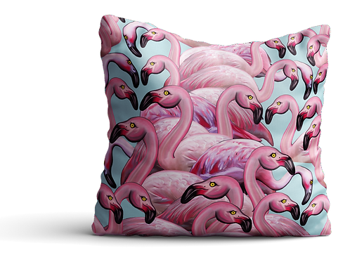 Flock of flamingos velvet cushion
