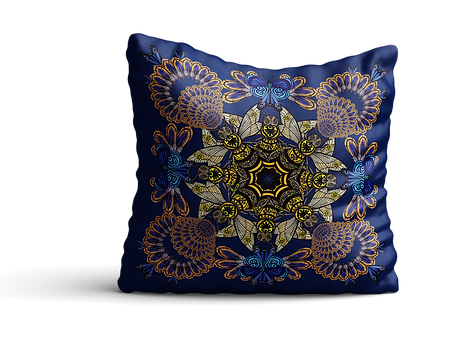 Blue bee mandala cushion mock up 2 copy.