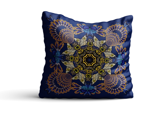 Golden bees and feathers square cushion in blue - 45cm