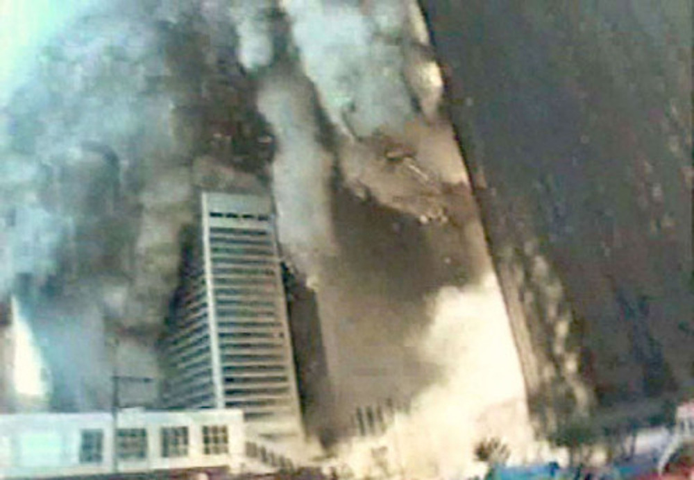 South Tower collapsing on PB