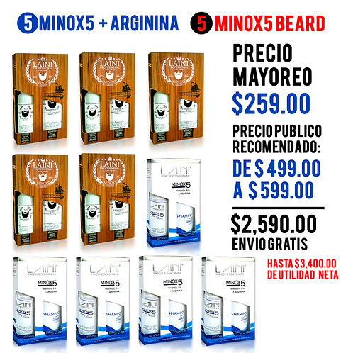 PAQ MAYOREO 5 KIT MINOX5 BEARD + 5 MINOX5 ARGININA