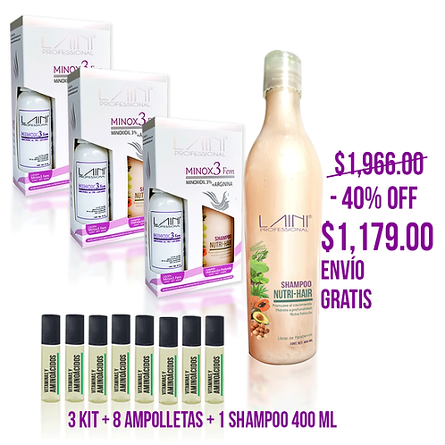 3 KIT + 8 AMPOLLETAS + 1 SHAMPOO 400 ML ENVIO GRATIS