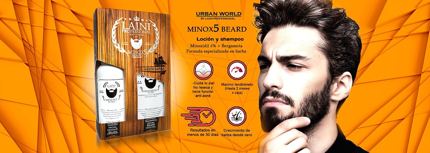 M inox5 Beard minoxidil 5% crecimiento de barba balsamo laini professional urban world