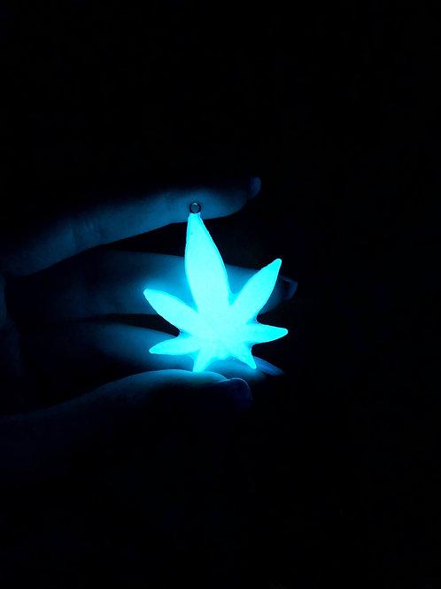 Cannabis Pendy- Teal Glow in the Dark