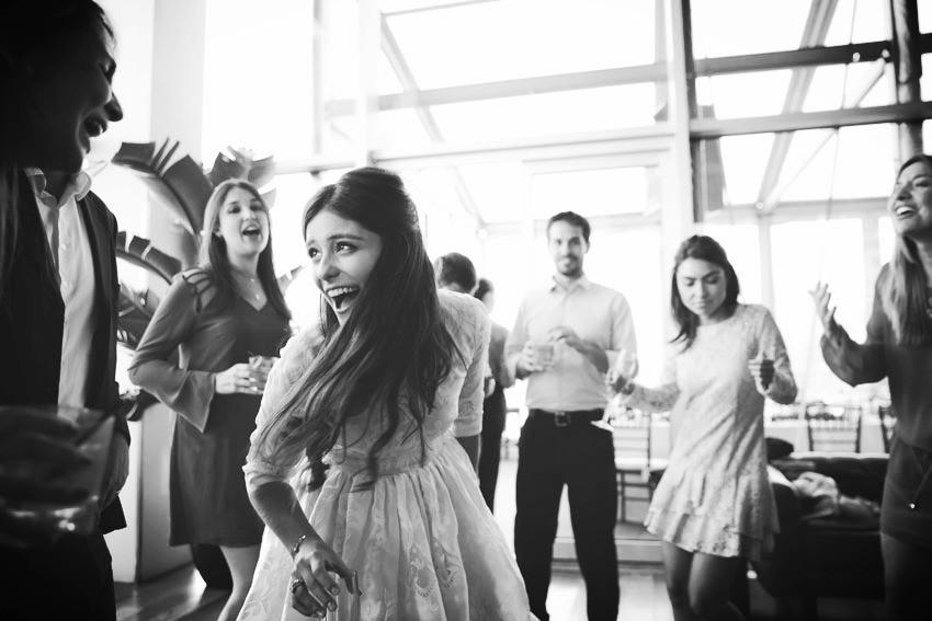 happy bride wearing Dolce Gabbana wedding dress at Press Lounge NYC