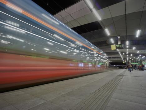 Starßenbahnstation am Grazer Hauptbahnhof
