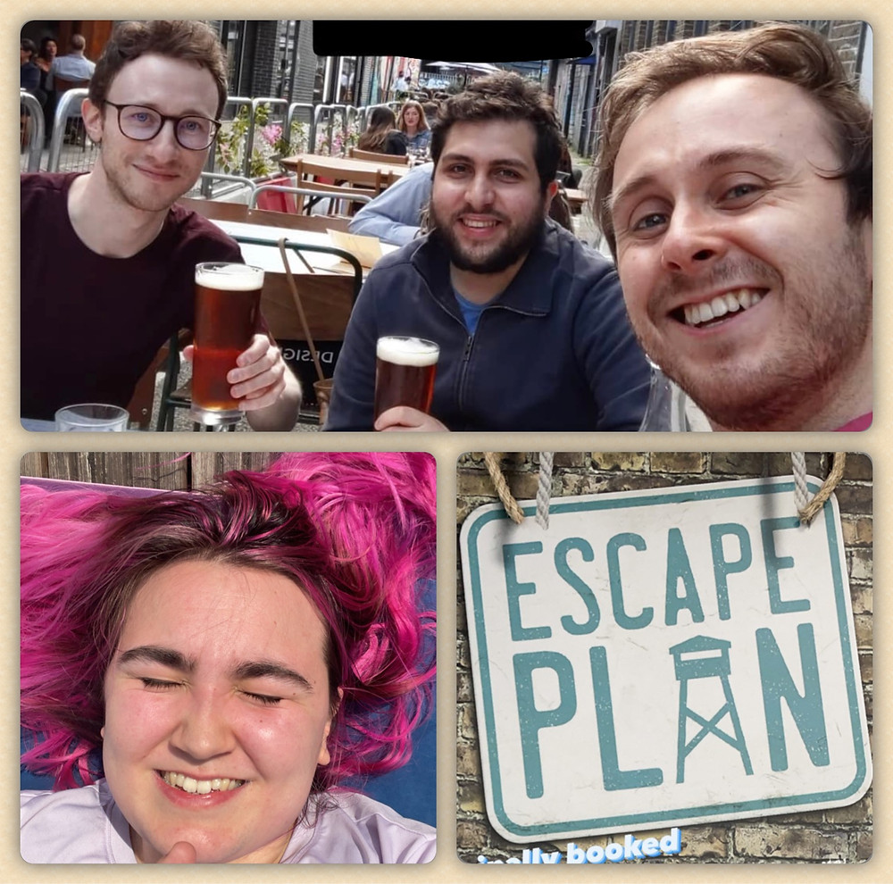 """3 men drinking beer, a girl with pink hair, and """"Escape Plan"""" logo"""
