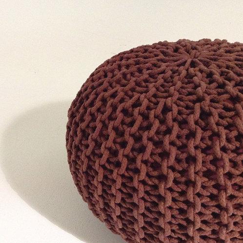 Handmade Round Knitted Pouf | Marsala | 50x35cm