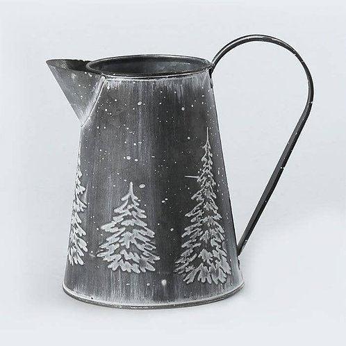 WHITE WASH EMBOSSED WATER PITCHER