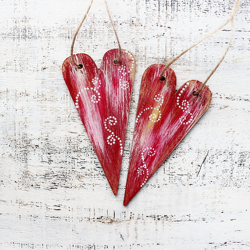 Wooden RED Heart Ornaments