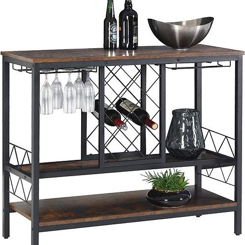 Vintage Industrial Wine Bar Cabinet with Storage