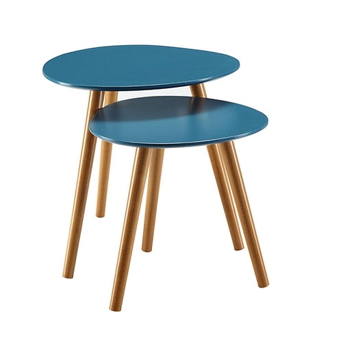 Mid Century Modern Nesting End Tables with Solid Wood Legs