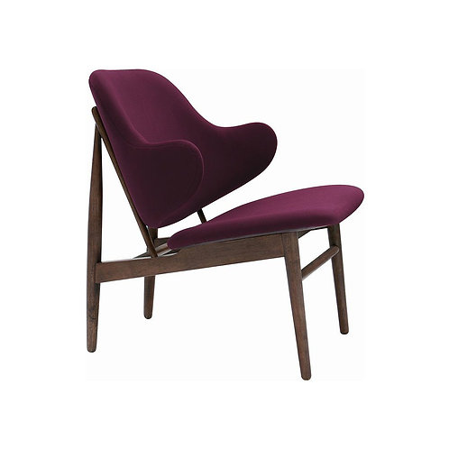 Veronic Lounge Chair - Walnut & Ruby