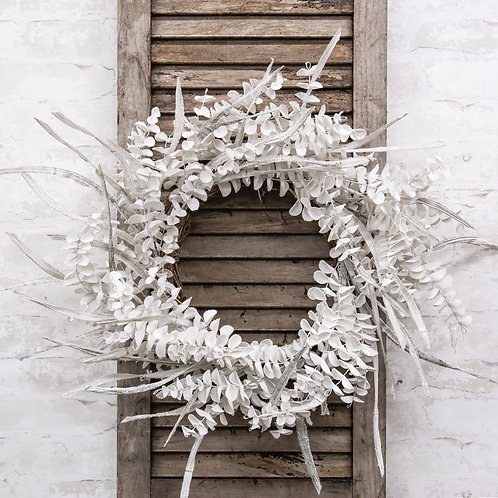 Winter White Sparkle Eucalyptus Wreath