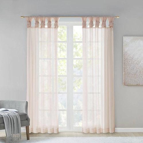 Twist Tab Top Sheer Window Curtain Pair (2)