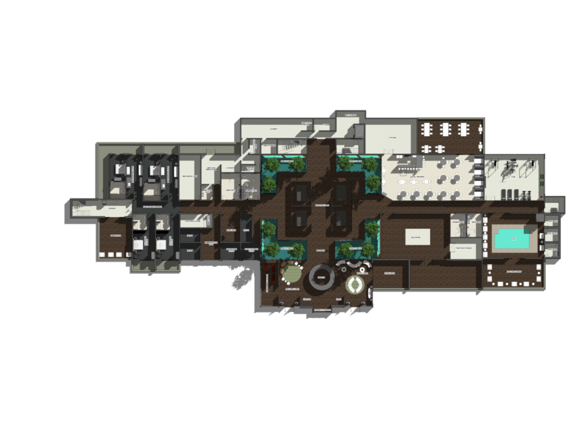 Boutique Hotel Computer Rendered Floor Plan