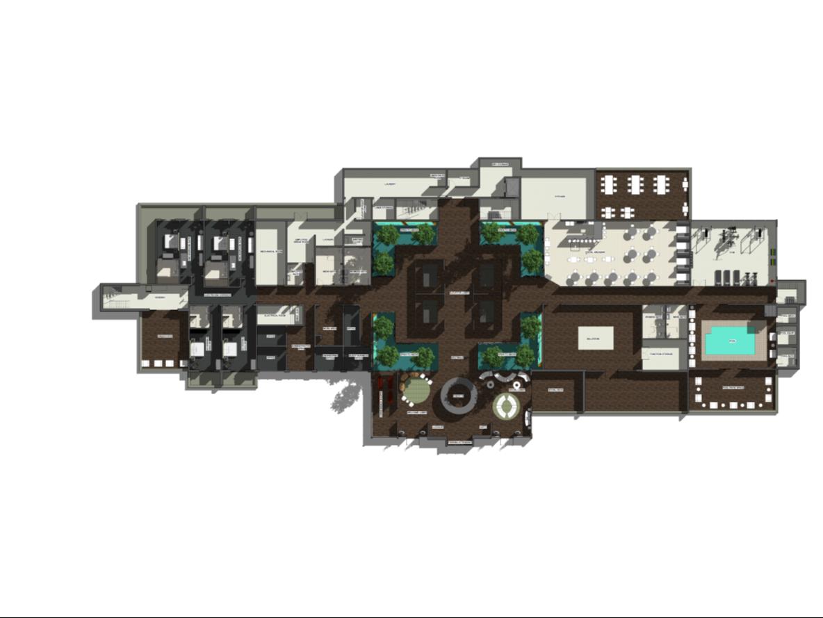 Boutique Hotel Computer Rendered Floor Plan