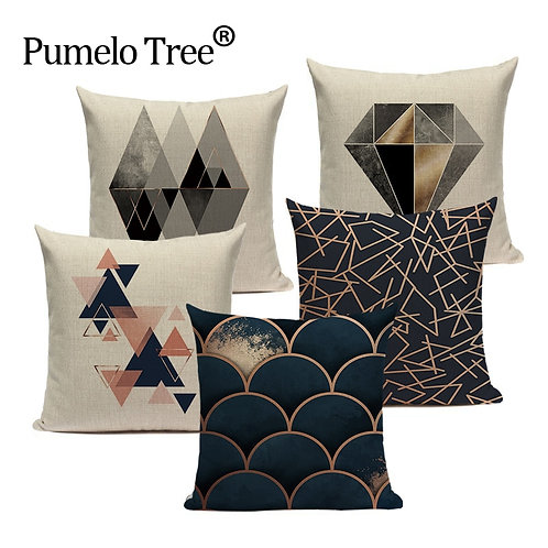 Geometric Black Blue Throw Pillow Cover