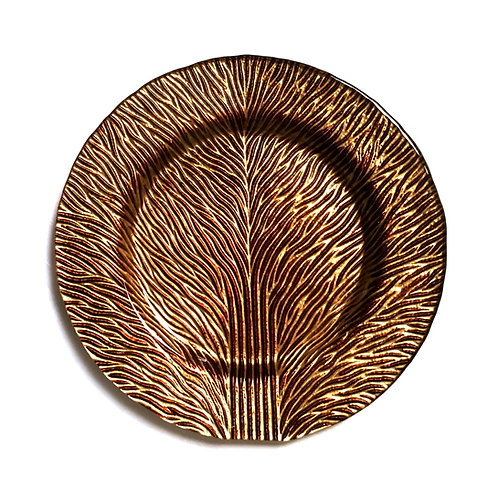 "Set/2 Tree of Life 8"" Gold Brown Salad Plates"