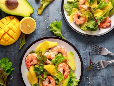 Avocado, Mango and Prawn Salad with honey balsamic