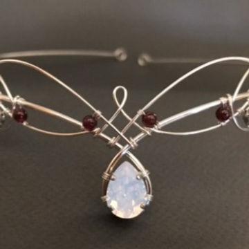 Opalite Crystal & Garnet Circlet Tiara